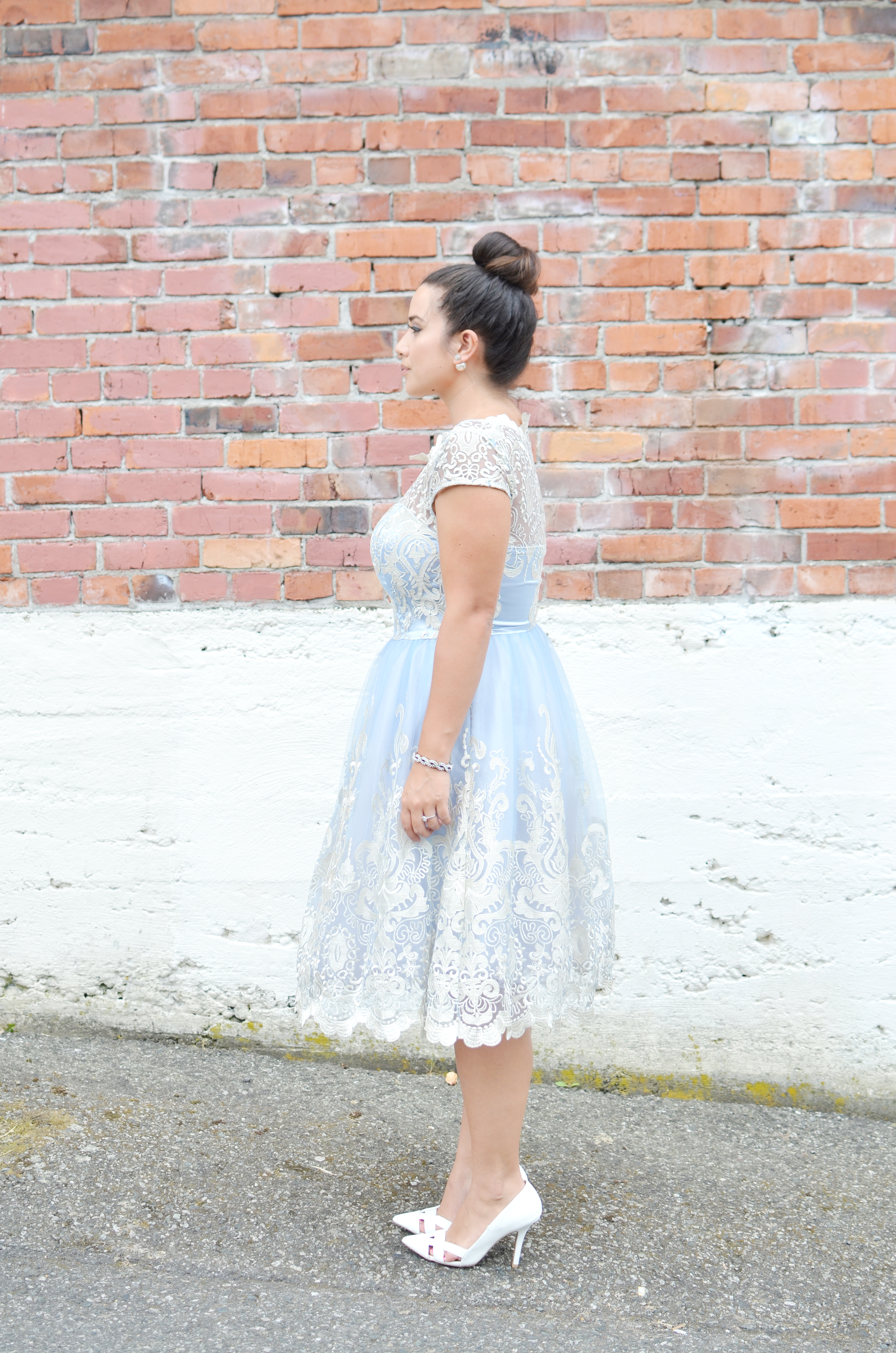 top knot vancouver fashion blogger cinderella dress curvy fashion blogger bridal shower
