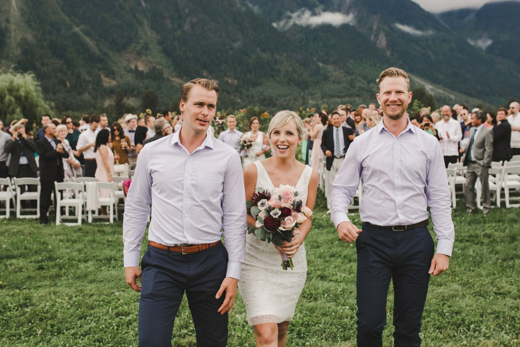 north arm farm wedding, pemberton bc ceremony, davids bridal bridesmaid dress, j crew groomsmen