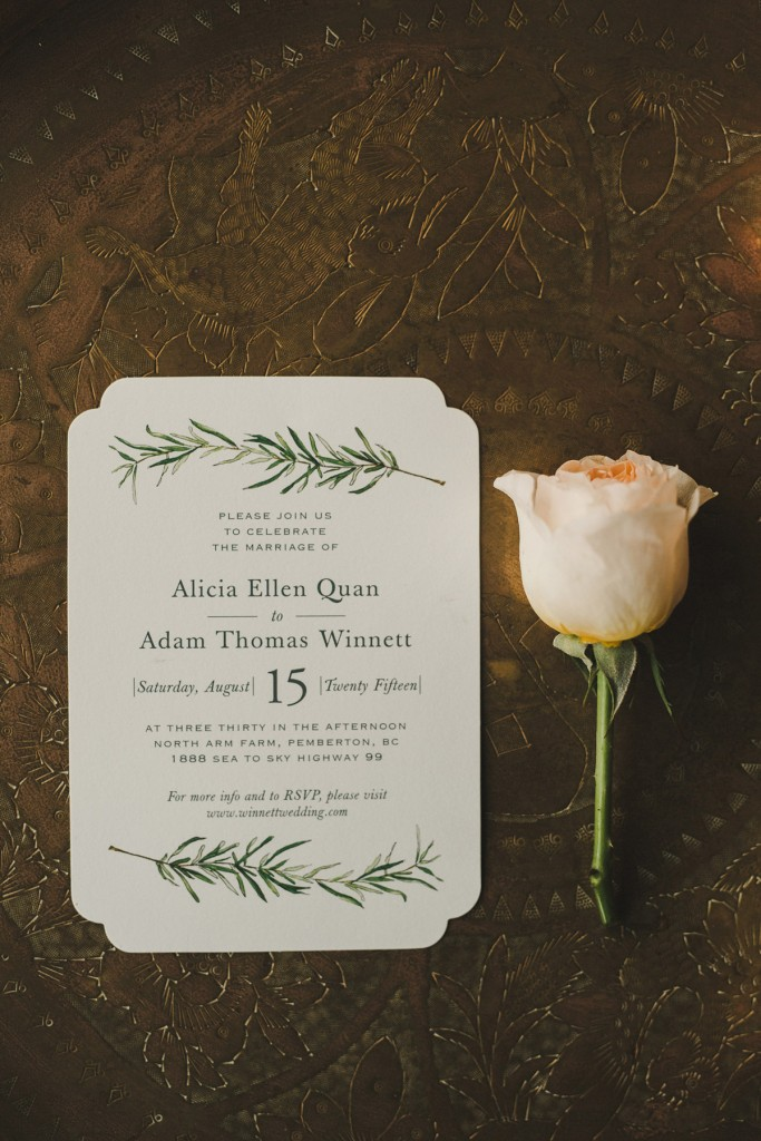 minted sprig invitations, rustic wedding invitations, alicia fashionista wedding, shari and mike photography