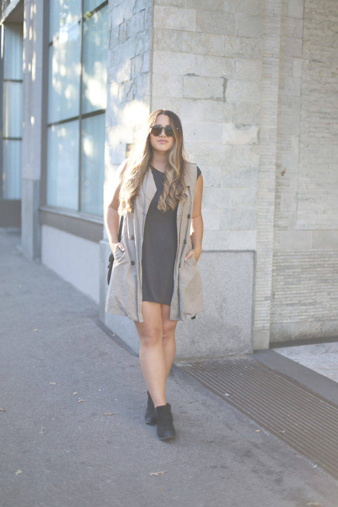 alicia fashionista, vancouver street style, fall transition outfit, slimming styling tricks