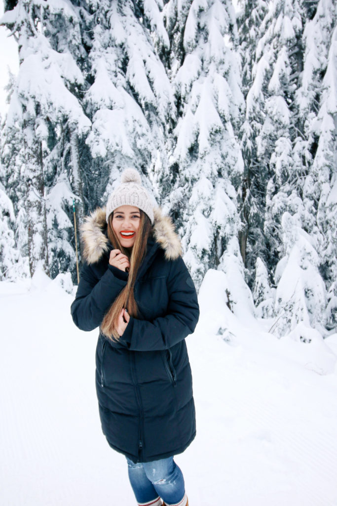 what to wear in the snow, alicia fashionista, snow day outfit ideas, what to wear grouse mountain, vegan winter jacket