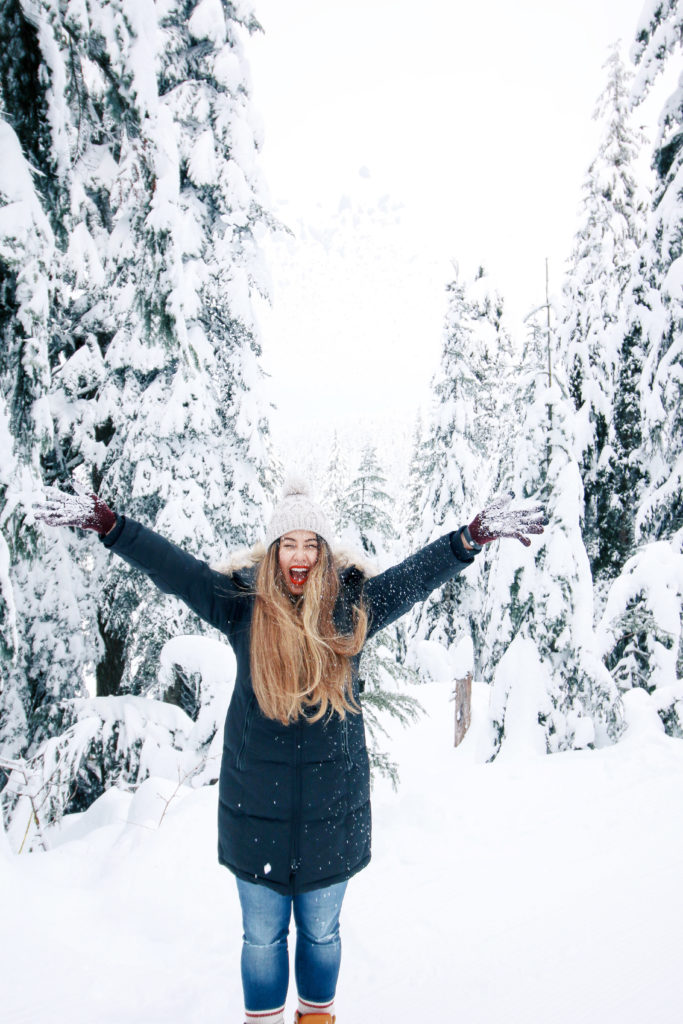what to wear in the snow, alicia fashionista, snow day outfit ideas, what to wear grouse mountain, noize winter coat, vegan coat
