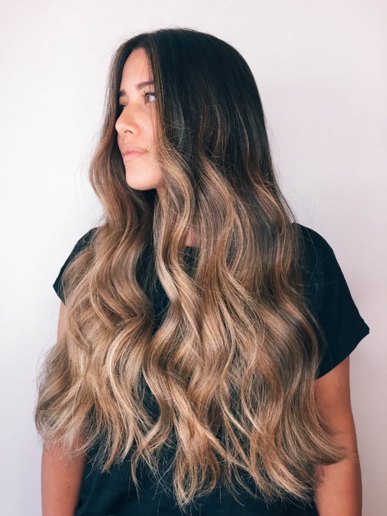 brunette balayage, long hair golden balayage, alicia fashionista, chris weber, artel salon vancouver