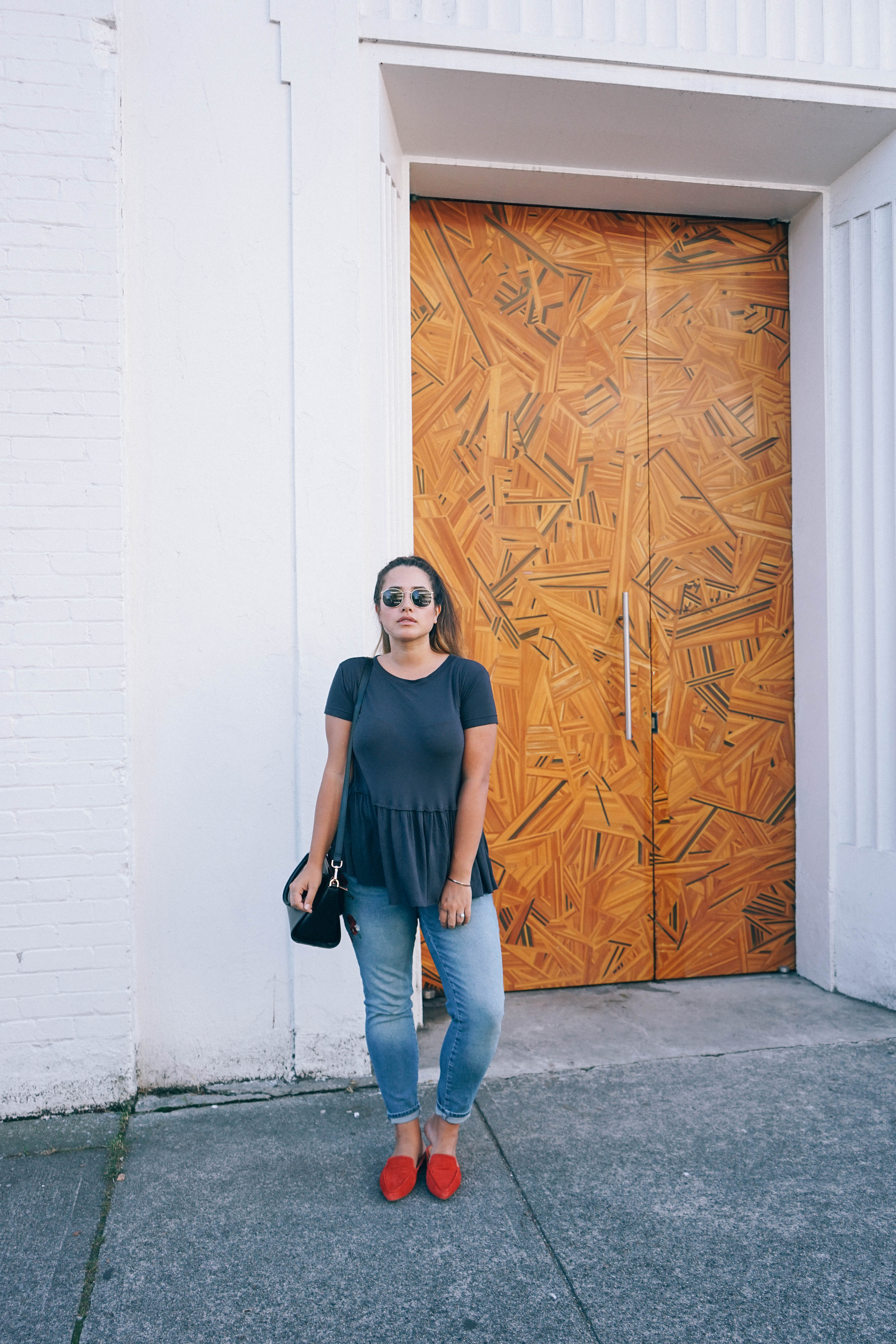 6baf1180 Adriana Embroidered Ankle Skinny Jeans c/o Mavi Peplum T-Shit from Urban  Outfitters · Franco Sarto Mules from Nordstrom Rack